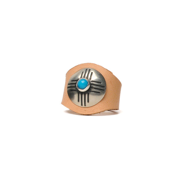 LEATHER RING WITH CONCHO JR. - VEGETABLE TANNED