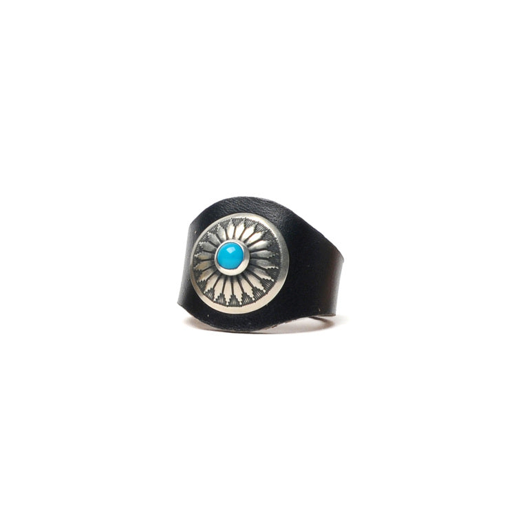 LEATHER RING WITH CONCHO JR. - BLACK