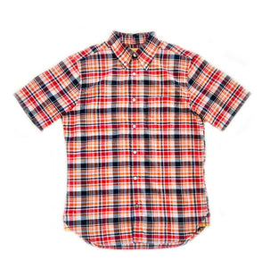 MADRAS BUTTON-DOWN SHORT-SLEEVED SHIRT - NAVY/ORANGE/RED