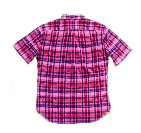 MADRAS BUTTON-DOWN SHORT-SLEEVED SHIRT - PINK/RED/BLUE