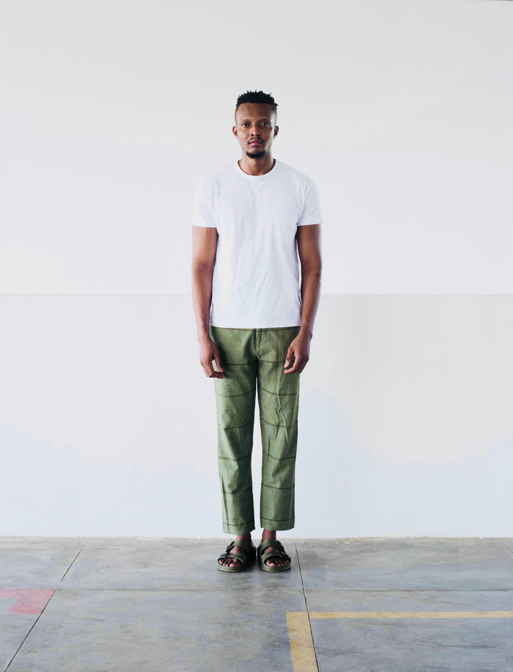 DRAWSTRING TROUSER - ARMY GREEN STRIPE
