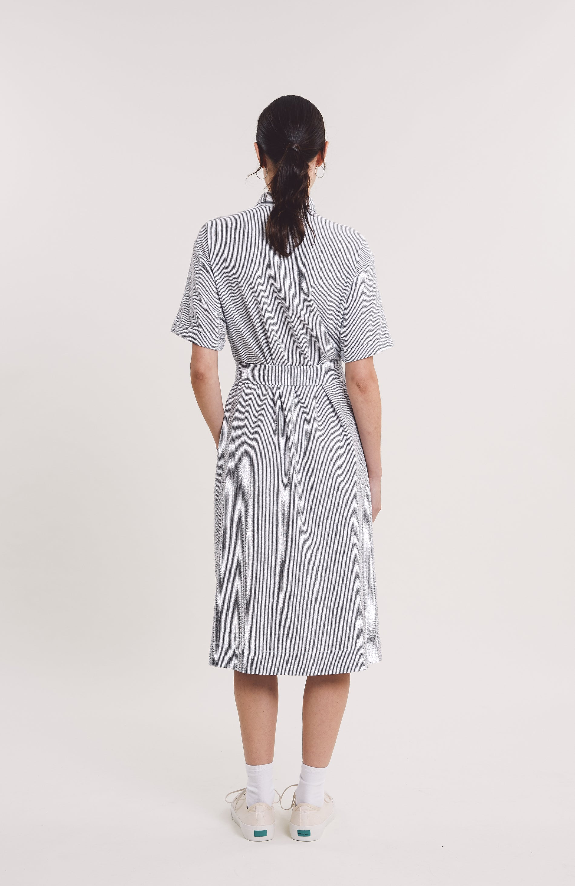 JOAN DRESS - NAVY/ECRU