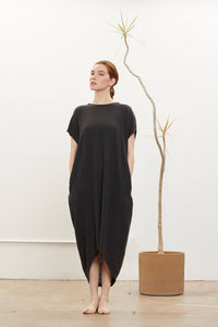 PLEATED COCOON DRESS - FADED BLACK
