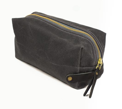 WAXED CANVAS DOPP KIT - GREY