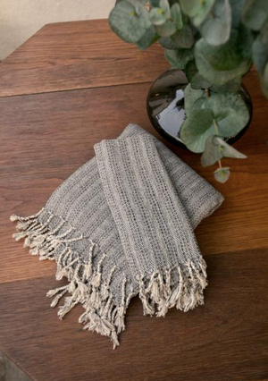 TURKISH TOWEL - GREY, BEIGE & NAVY
