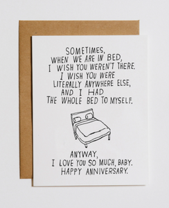 BED TO MYSELF - ANNIVERSARY CARD