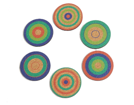 CORK COASTERS BLUE/GREEN/RED