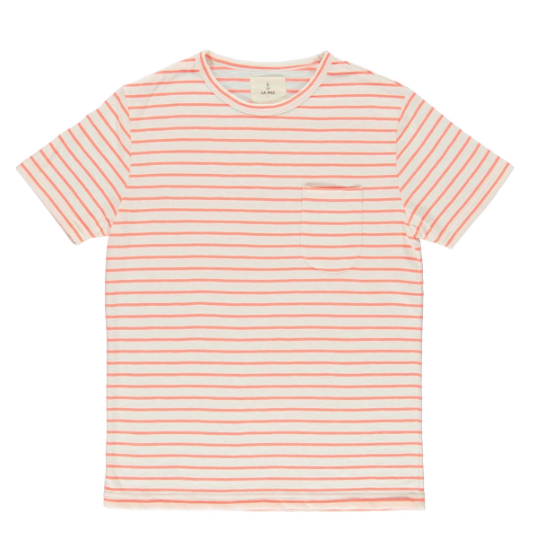 GUERREIRO COTTON T-SHIRT - CORAL STRIPE