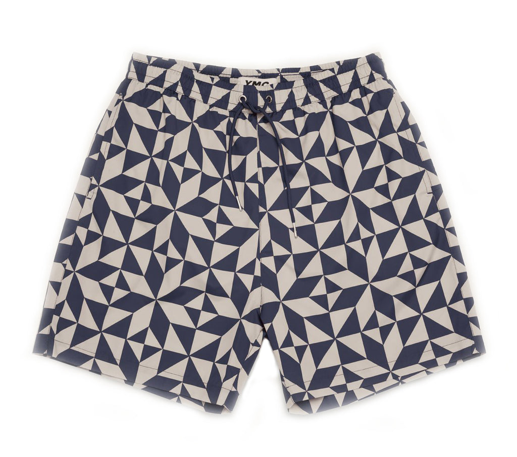 SWIM TILE PRINT SHORTS - NAVY