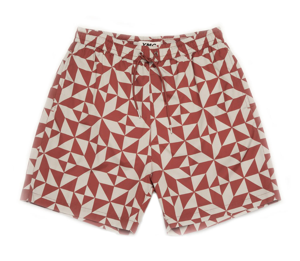 SWIM TILE PRINT SHORTS - RED