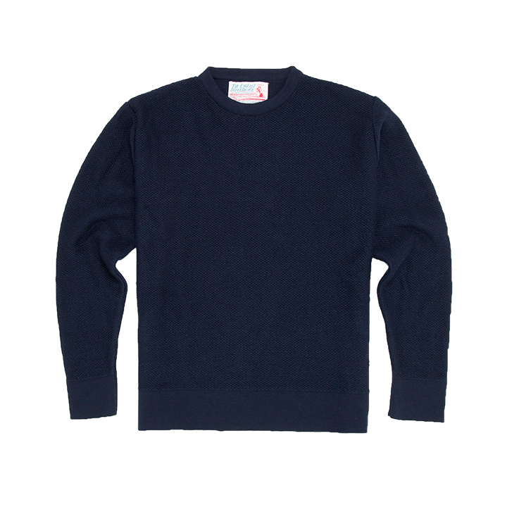 THE ENGLISH DIFFERENCE REVERSE KNIT CREW SWEAT - NAVY