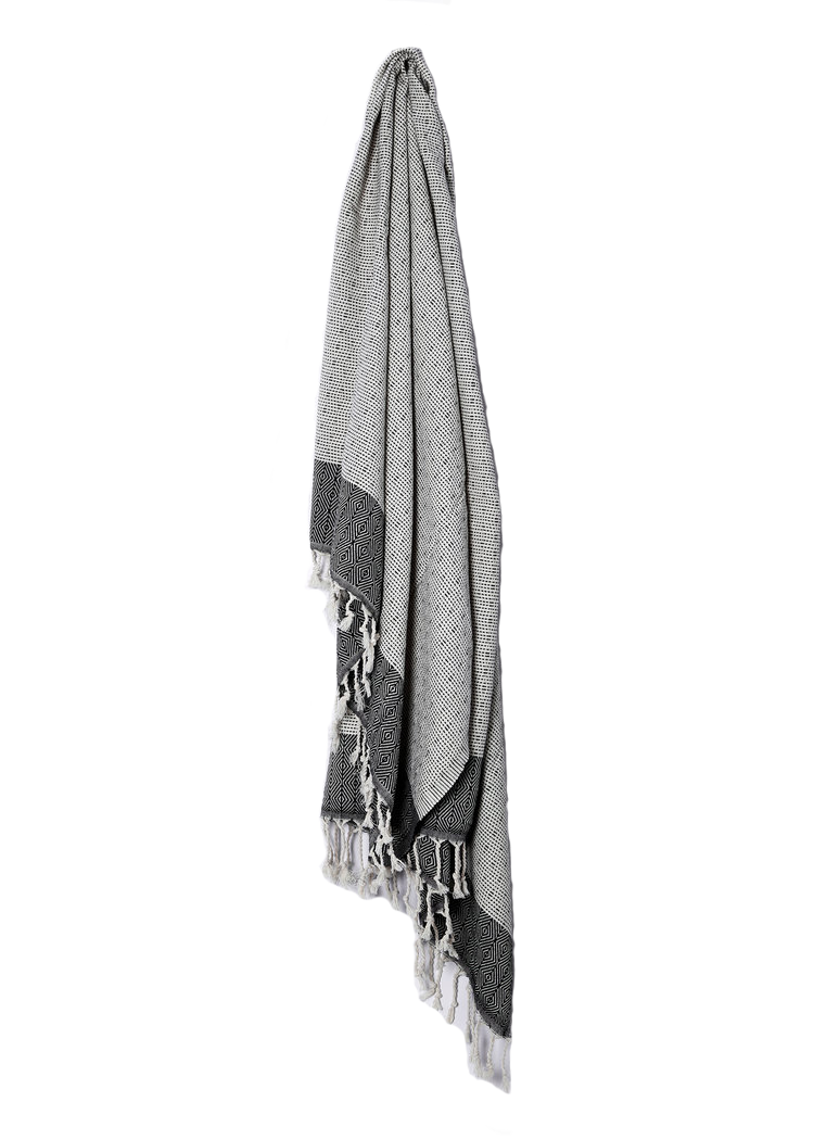 HEAVY WEAVE TURKISH TOWEL, BLACK