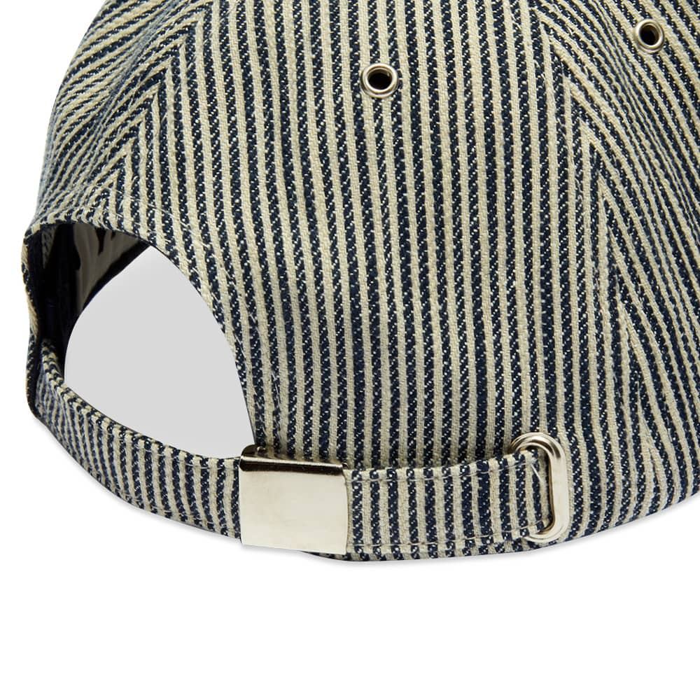 BASEBALL COTTON LINEN HICKORY STRIPE CAP - NAVY