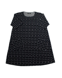 OVERSIZED A-LINE DRESS - INDIGO GRID