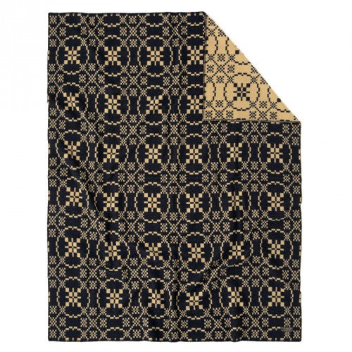 JACQUARD WOOL BLANKET - BLACK