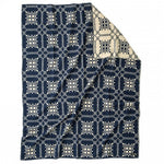 JACQUARD WOOL BLANKET - NAVY