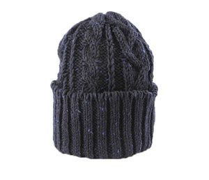 CABLE KNIT CAP - NAVY