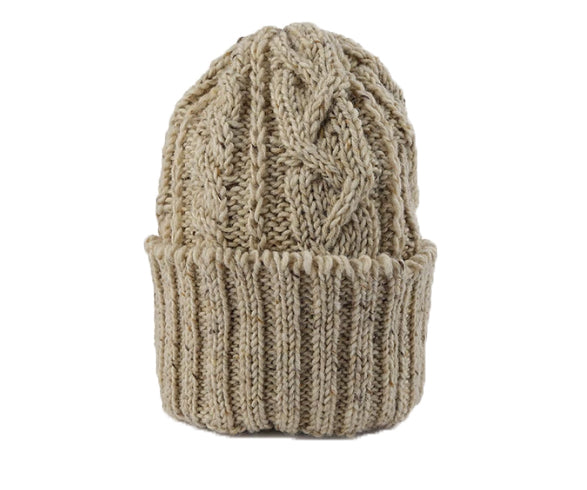 CABLE KNIT CAP - OAT