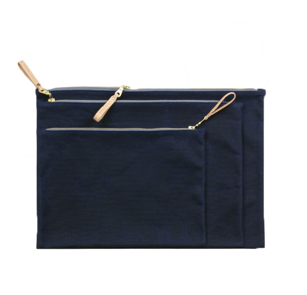 WAXED CANVAS ZIP FOLIO - NAVY