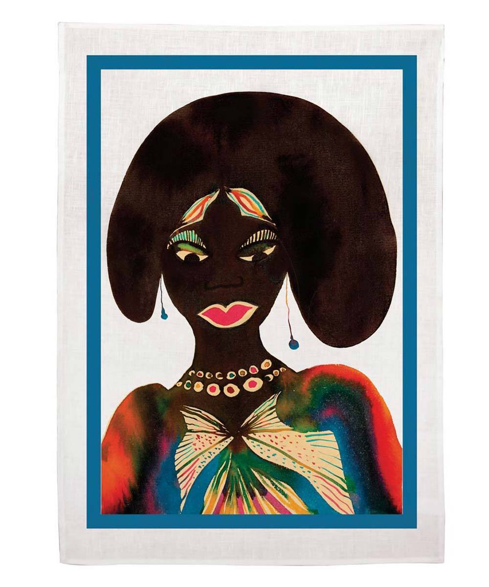 CHRIS OFILI, AFROMUSES COUPLE (WOMAN) TEA TOWEL