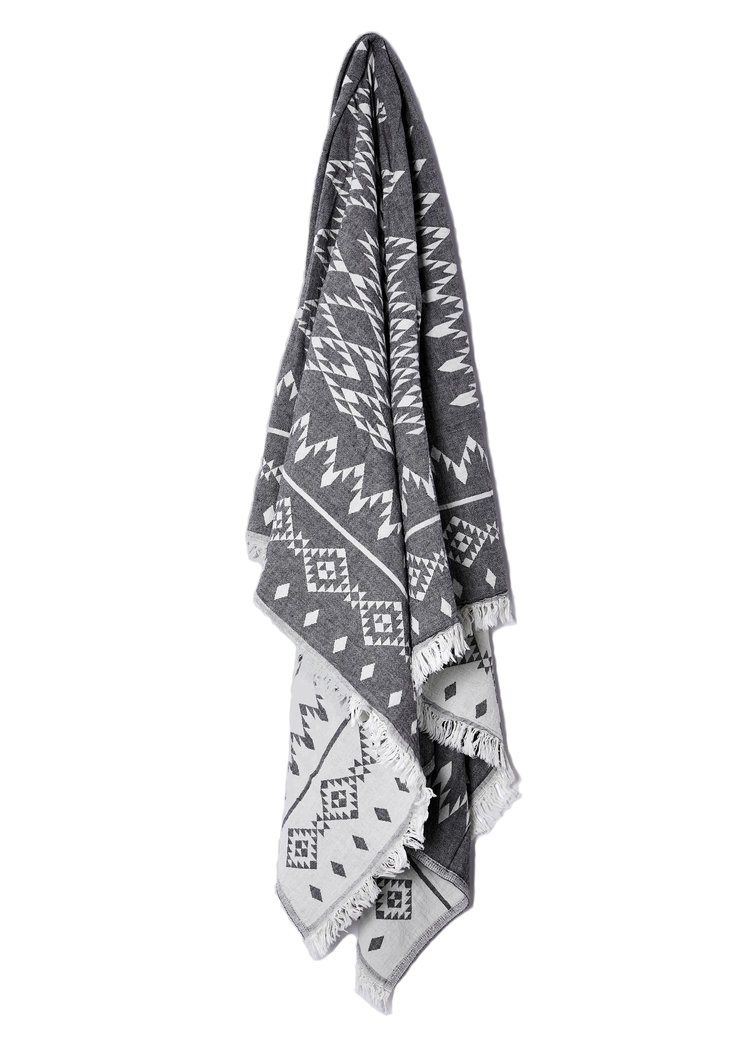 KILIM THROW COTTON - CHARCOAL