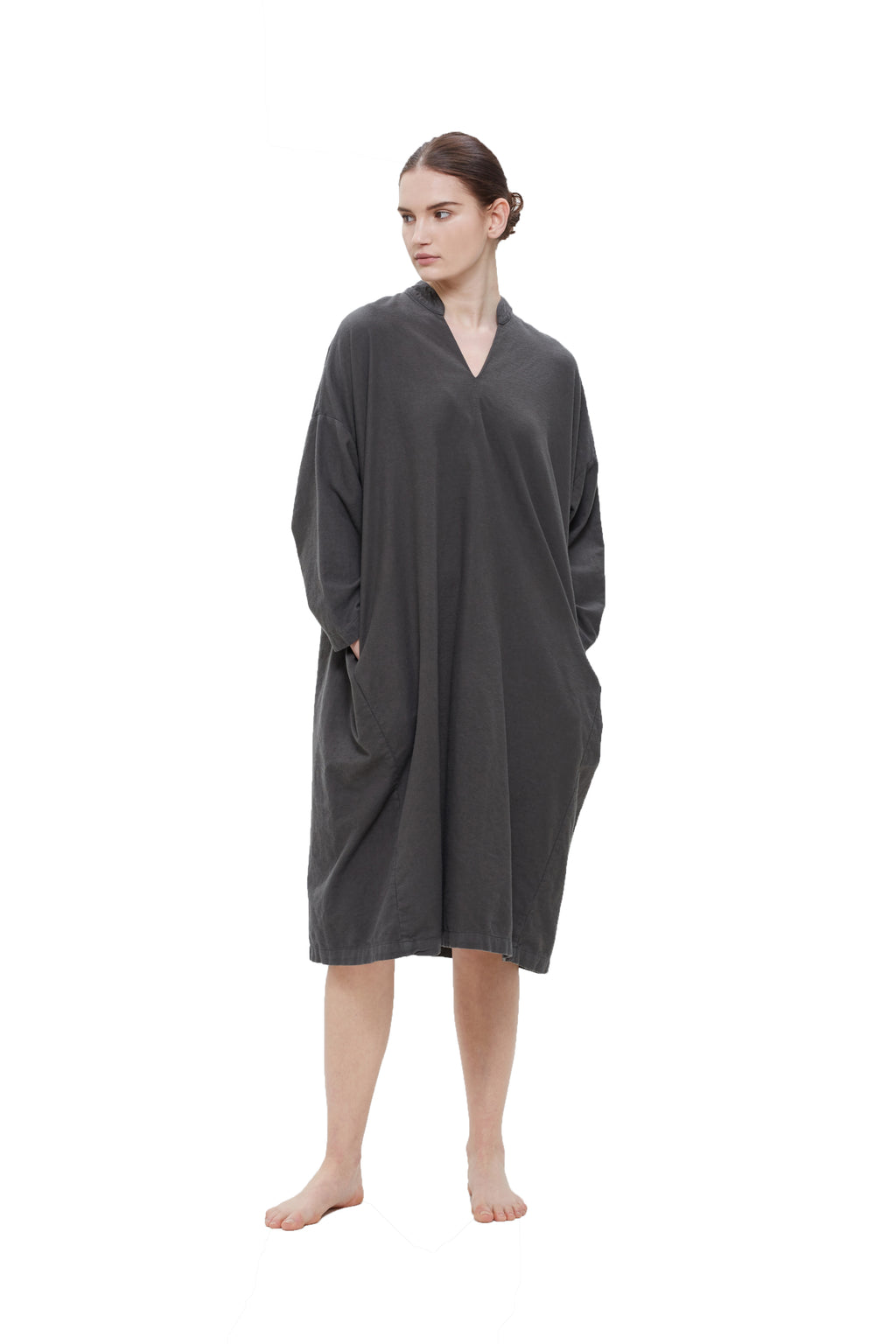LONG BOX DRESS - DARK GREY