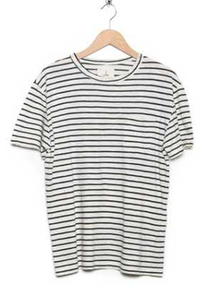 GUERREIRO COTTON POCKET T-SHIRT - NAVY STRIPE