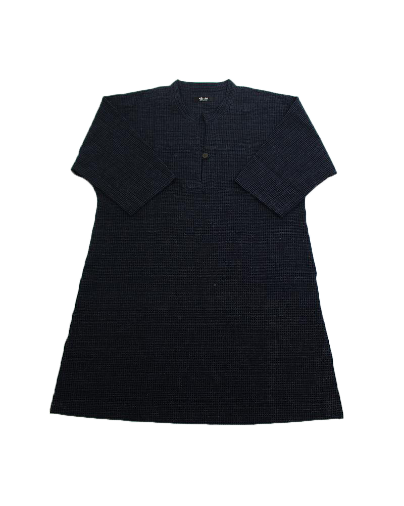 OVERSIZED A-LINE POCKET DRESS - BLUE WEAVE