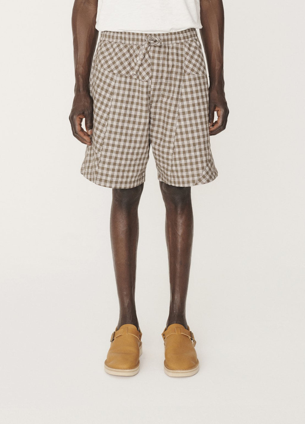 Z PATCHWORK LINEN COTTON CHECK SHORTS - OLIVE