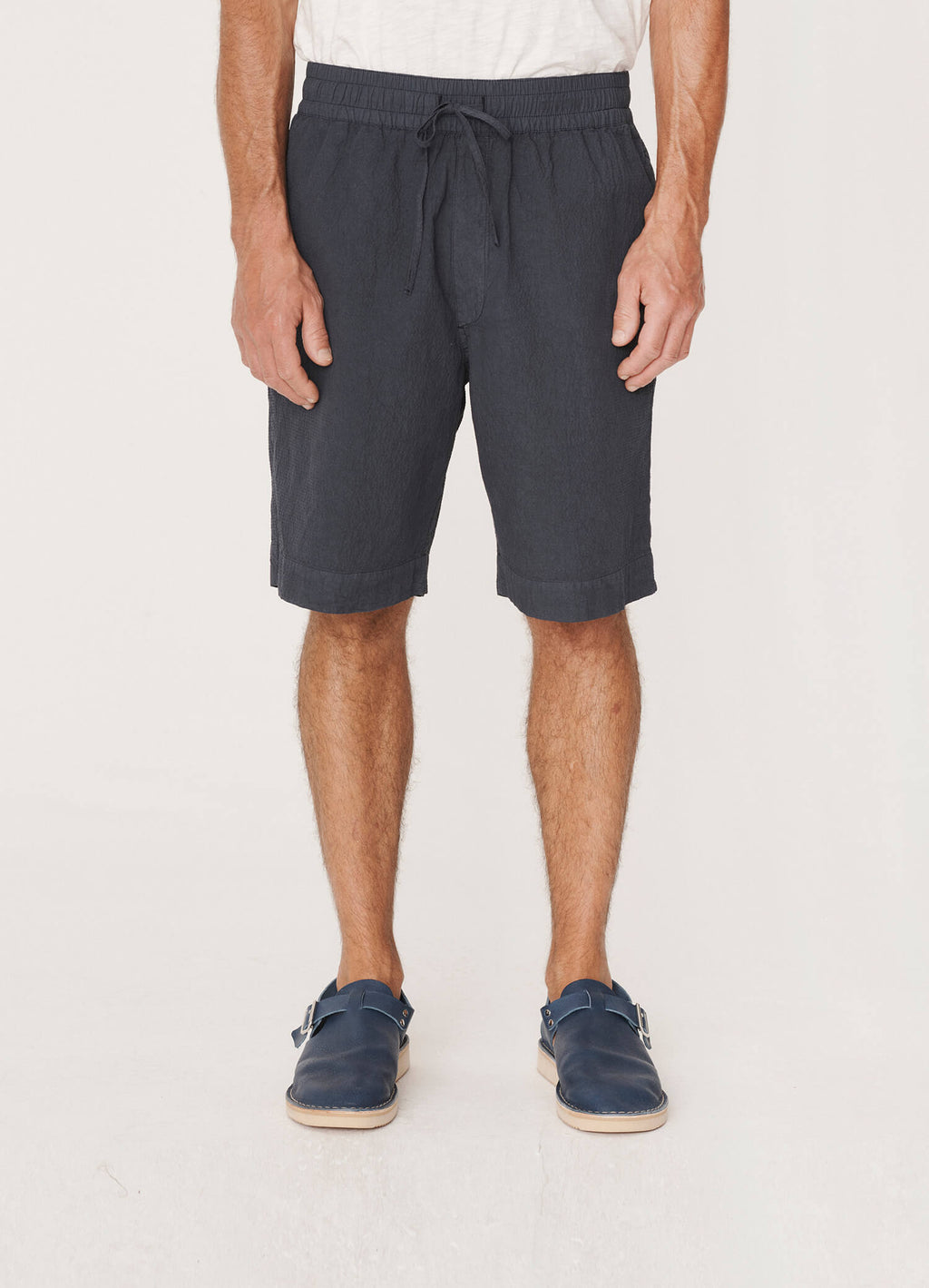 JAY COTTON SEERSUCKER SHORTS - NAVY