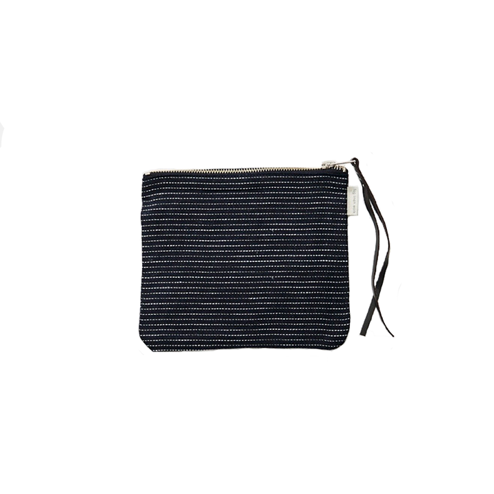 LINEN POUCH NAVY PINSTRIPE - MEDIUM