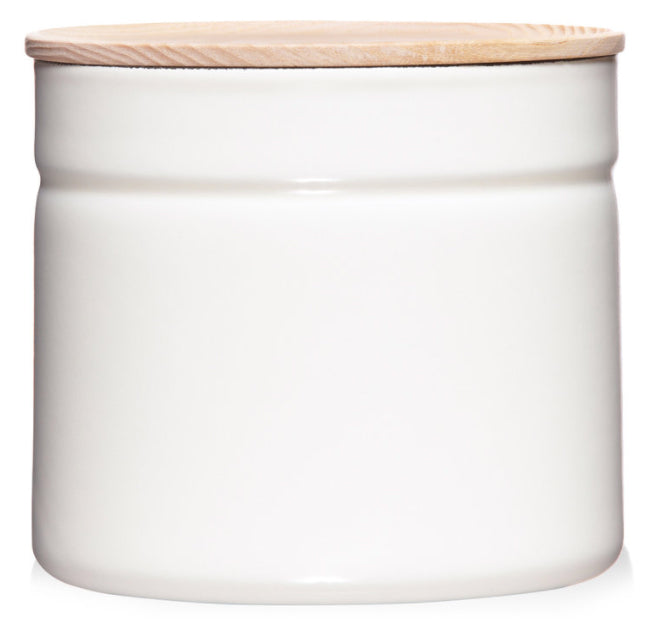 ENAMEL STORAGE CONTAINER - WHITE MEDIUM