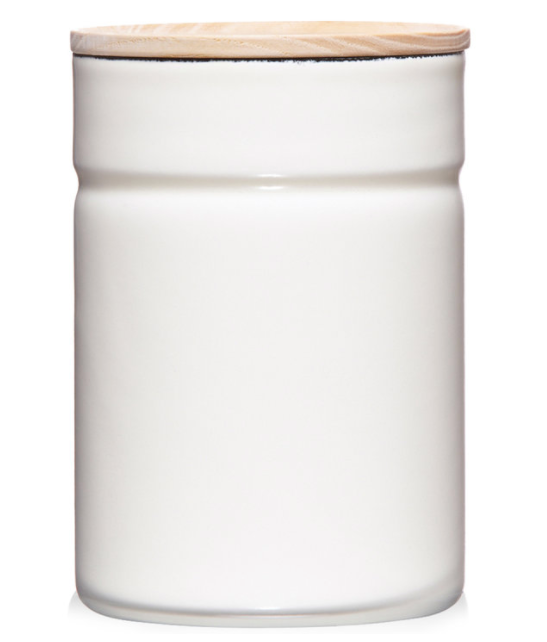 ENAMEL STORAGE CONTAINER - WHITE LARGE