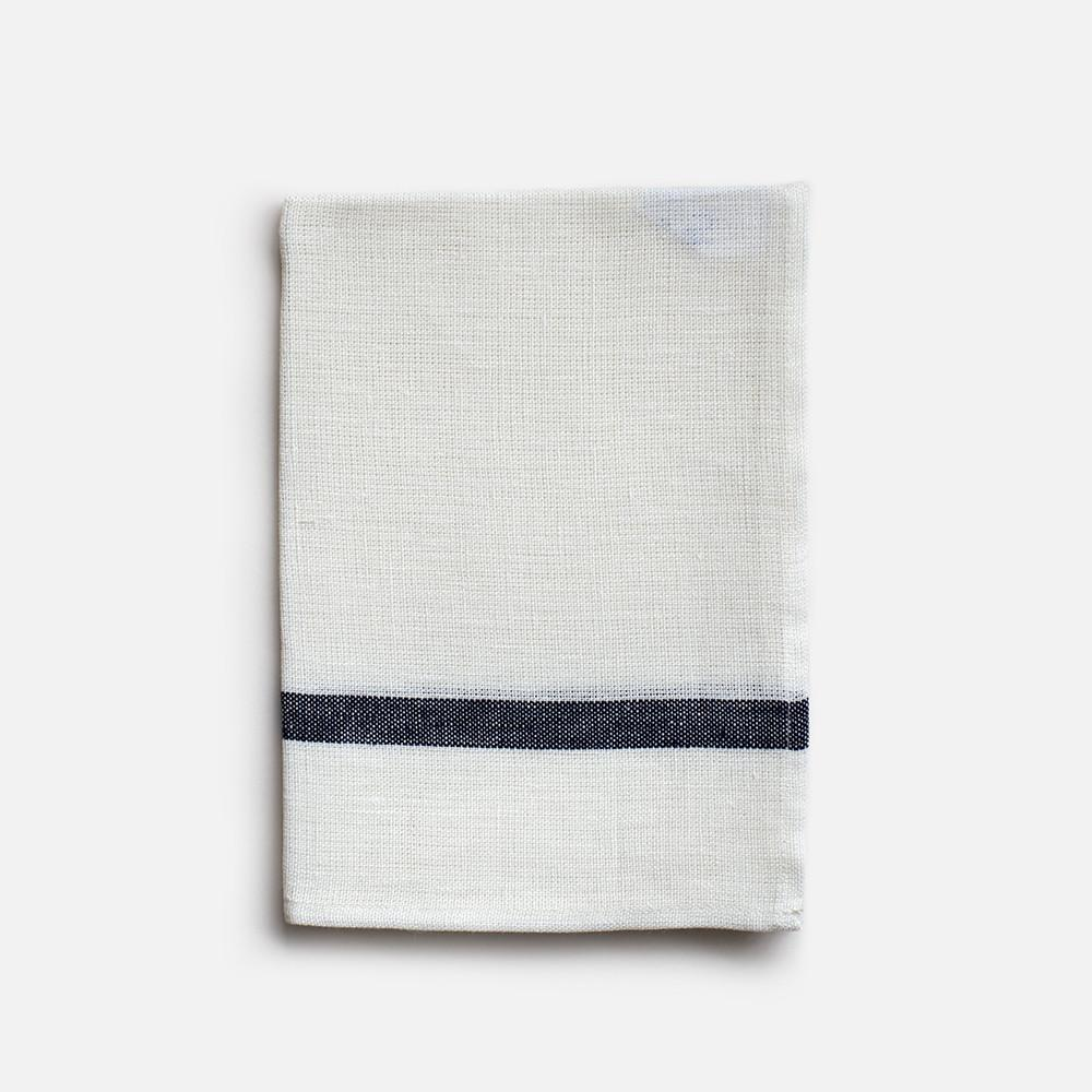 LINEN KITCHEN TOWEL - WHITE WITH NAVY STRIPE