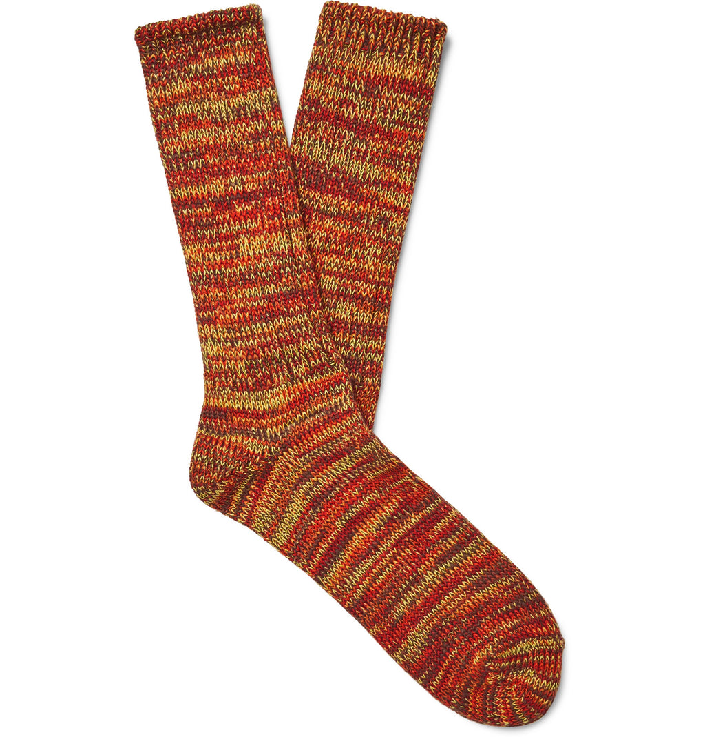 5 COLOR MIX CREW SOCK - ORANGE