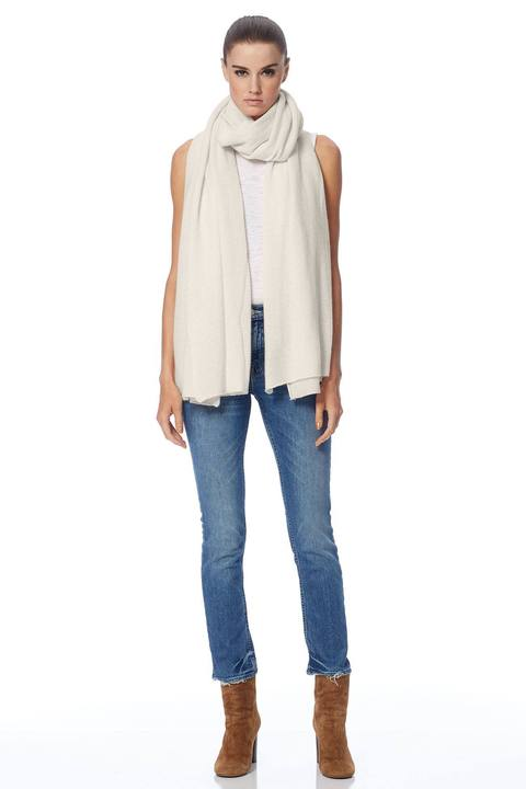 360 Cashmere Linus Scarf in Chalk at basicality.com on sale front  view