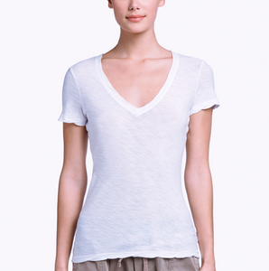 James Perse Sheer Slub Casual V-Neck in White