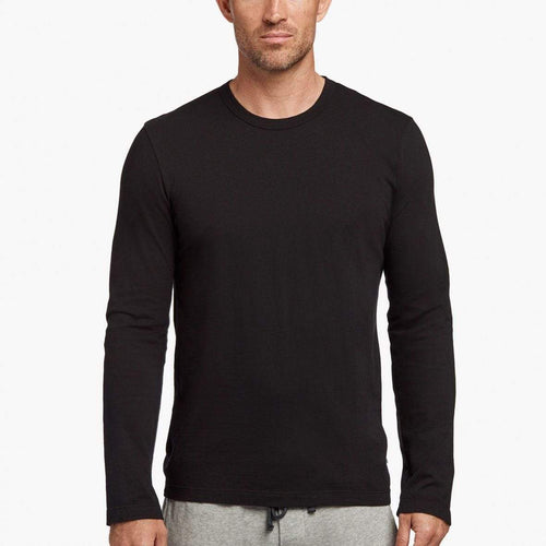 James Perse Men's Long Sleeve Crew in Black   Long sleeve crew with binded neck. Soft, lightweight jersey.      100% Cotton     Length: 28 in.     Designer style #MLJ3351
