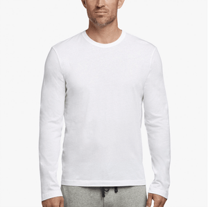 James Perse Men's Long Sleeve Crew in White  Long sleeve crew with a binded neck. Soft, lightweight jersey.      100% Cotton     Length: 28 in.     Designer style #MLJ3351