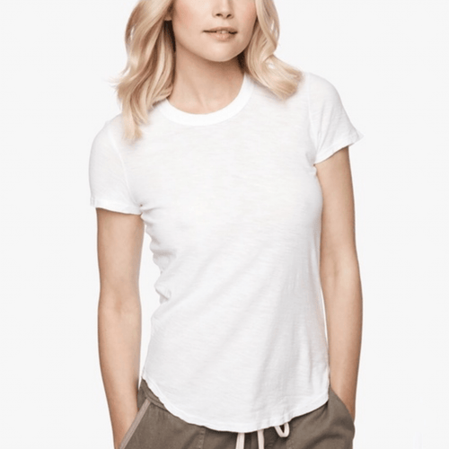 James Perse Slub Sheer Crew Neck Tee in White