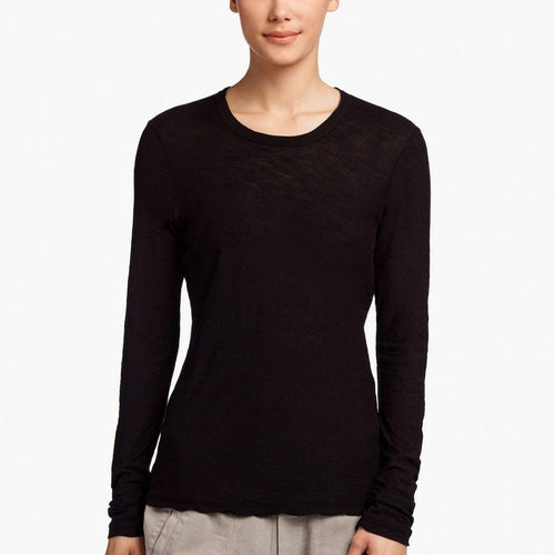 James Perse Women's Sheer Slub Long Sleeve Crew in Black