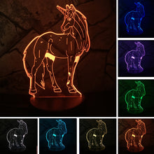 2018 NEW Animal Kawaii Cartoon Unicorn Color Changing 3D Table Lamp LED Night Light Girls Decorative Gift