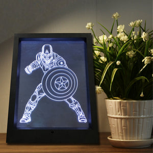 Captain America Color Changing 3D Night Light Picture Frame Table Lamp w/ Remote Controller