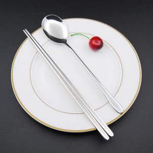 Stainless Steel Korean Tableware, Chopsticks & Spoon (2Pcs/Set, Black, Silver, Rose Gold, and Gold) 4