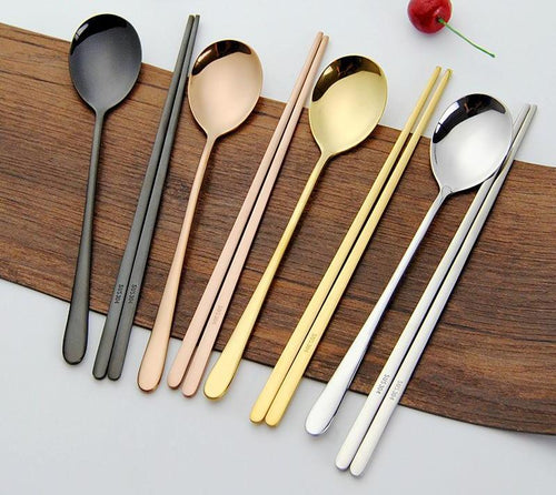 Stainless Steel Korean Tableware, Chopsticks & Spoon (2Pcs/Set, Black, Silver, Rose Gold, and Gold) 1
