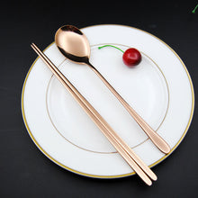 Stainless Steel Korean Tableware, Chopsticks & Spoon (2Pcs/Set, Black, Silver, Rose Gold, and Gold) 2