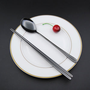 Stainless Steel Korean Tableware, Chopsticks & Spoon (2Pcs/Set, Black, Silver, Rose Gold, and Gold) 5