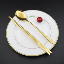 Stainless Steel Korean Tableware, Chopsticks & Spoon (2Pcs/Set, Black, Silver, Rose Gold, and Gold) 3