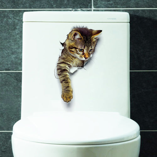 Waterproof Vinyl 3D Reaching-Cat Wall Sticker (7 different patterns)