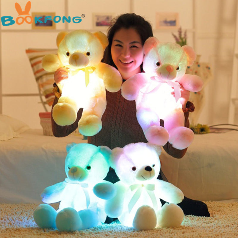 50cm Creative Light Up LED Teddy Bear Stuffed Animals Plush Toy Colorful Glowing Teddy Bear Christmas Gift for Kids (FREE SHIPPING)